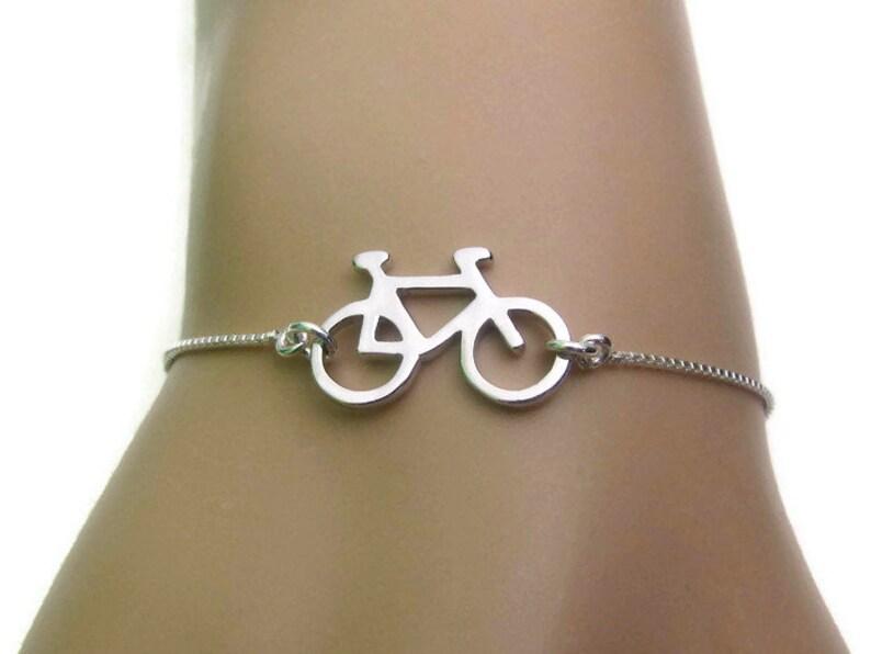 Jewelry Sterling Silver Bracelet Bicycle Bracelet Adjustable Bracelet Gift for Her