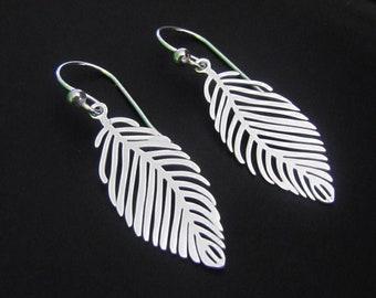 Sterling Silver Leaf Earrings, Dangle Earrings, Drop Earrings, Jewelry, Gift for her