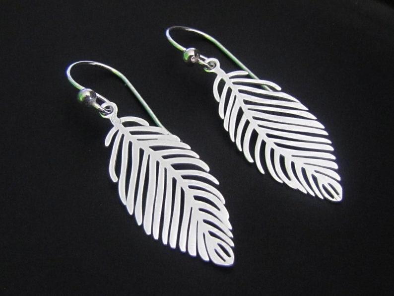 Sterling Silver Leaf Earrings Dangle Earrings Drop Earrings image 0