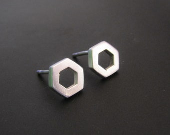 Hexagon Stud Earrings, Sterling Silver Earrings, Geometric Jewelry, Studs, Gift, Minimalist Earrings, EveryDay Earrings