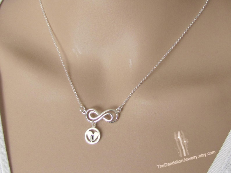 Gift Sterling Silver Necklace Initial Necklace Jewelry Personalized Infinity Necklace