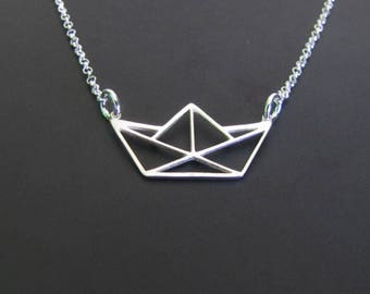 Origami Boat Necklace, Paper Boat Necklace, Sterling Silver Necklace, Minimalist Necklace, Charm Necklace, Jewelry, Gift for her