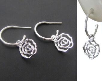 Rose Hoop Earrings, Sterling Silver Earrings, Hoops, Jewelry, Gift, Minimalist Earrings, Everyday Jewelry Earrings, Minimalist Earrings