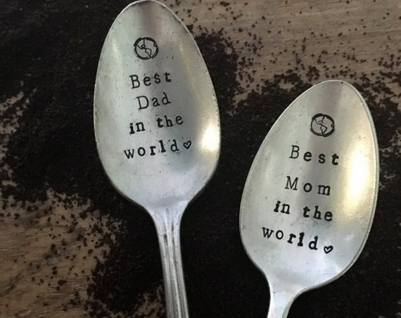 "Hand Stamped ""Best Mom or Dad in the WORLD"" Spoon, Vintage spoon hand stamped"