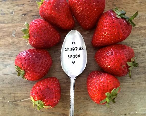 "Hand Stamped ""Smoothie Spoon"" Vintage spoon hand stamped long handled spoon"