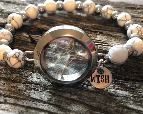 Make a Wish dandelion locket hand stamped gemstone bracelet
