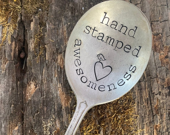 Custom Hand Stamped Silverware, Your words on Vintage Stamped spoons