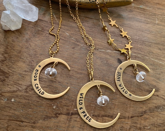 Hand Stamped Moon Necklace / Moon Child Necklace / Moon Necklace / stay wild / crescent moon necklace