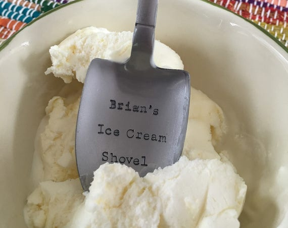"Hand Stamped ""Ice Cream Shovel"" personalized ice cream spoon"