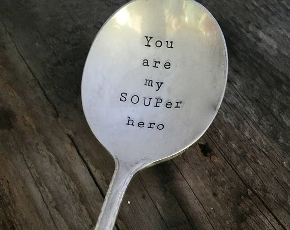 Hand Stamped  Vintage Soup Spoon