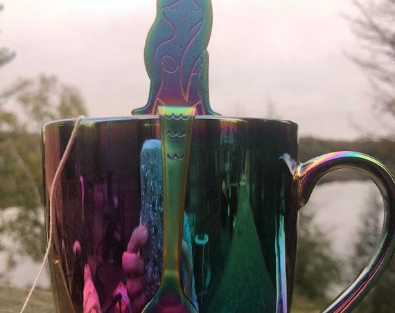 Hand stamped rainbow mermaid spoon