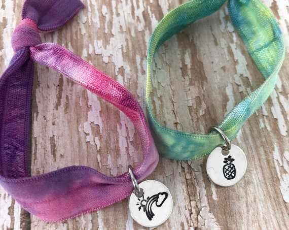 Hand Stamped Tie Dye  Elastic for Wrist and Hair