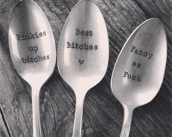 Bad Ass Tea Party Vintage Hand Stamped Cursing Spoon