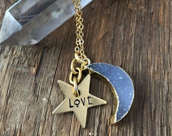 Druzy Moon LOVE Hand Stamped Necklace