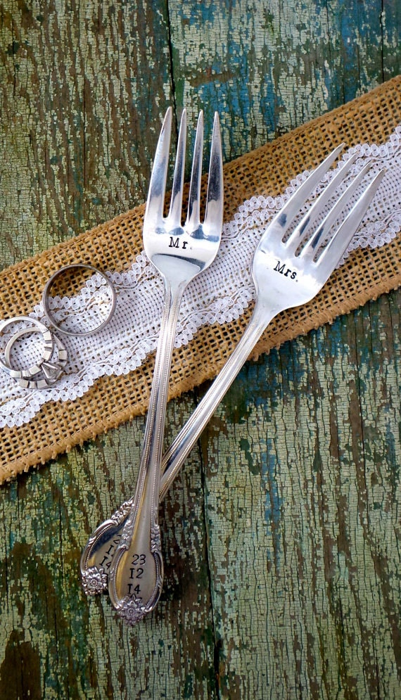 "Hand Stamped ""Mr and Mrs"" Vintage Weddings Fork Set, Vintage forks hand stamped with wedding dates"
