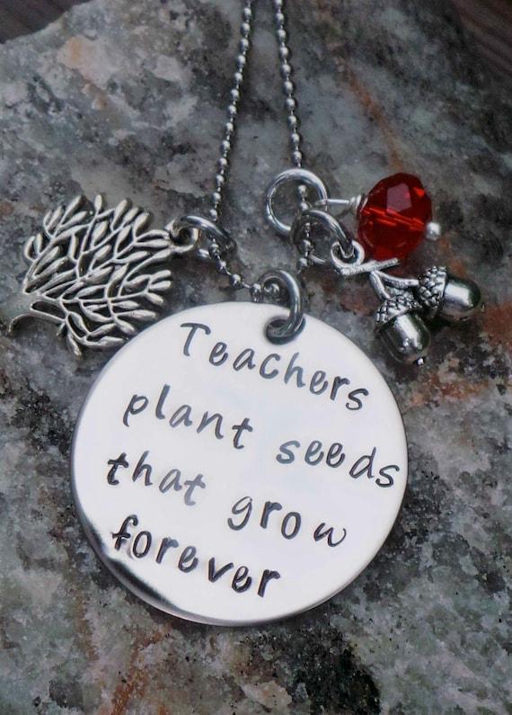 Hand Stamped Teacher Necklace- great teacher gift
