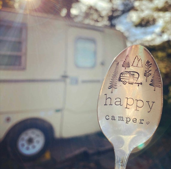 Happy camper spoon /  hand stamped vintAge Spoon / camping spoon / vintage trailer spoon