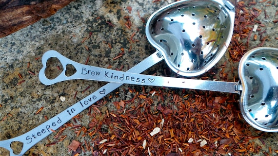 Hand Stamped Tea Infuser, Personalized loose leaf tea steeping spoon