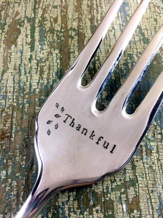 Thankful Hand Stamped Vintage Serving Fork, Thanksgiving serving fork