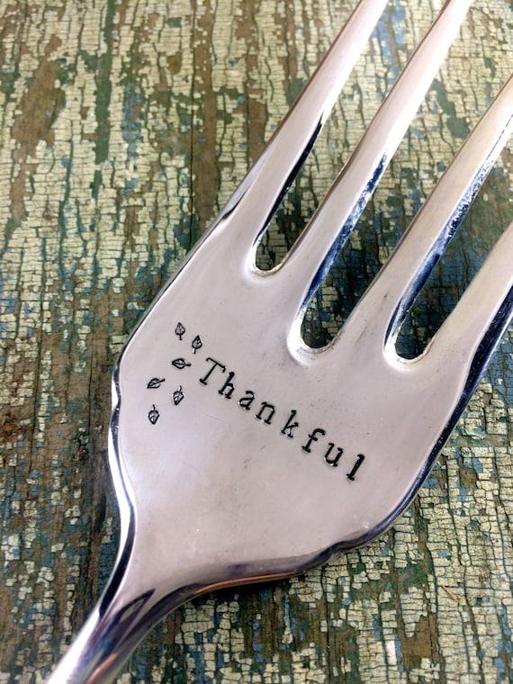 Thankful Hand Stamped Vintage Serving Fork, Thanksgiving serving fork