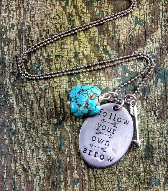 Follow your own Arrow hand stamped necklace