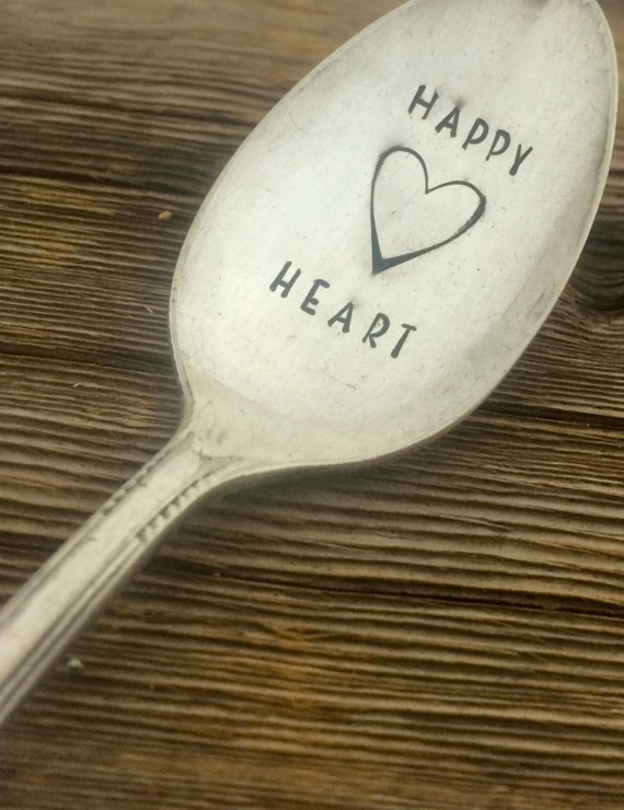 Hand Stamped Happy Heart Vintage spoon hand stamped