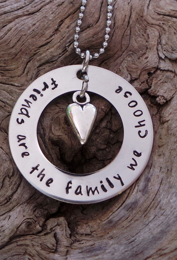 Hand Stamped Friendship Necklace, friend gift
