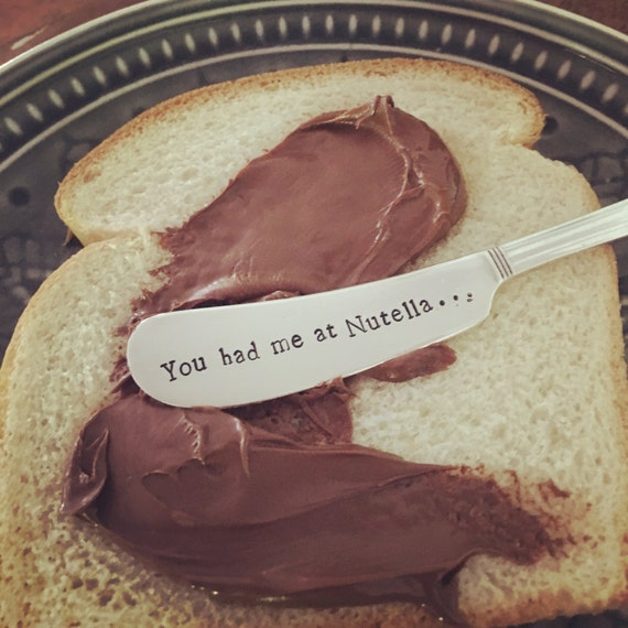 Hand Stamped vintage spreader, you had me at Nutella
