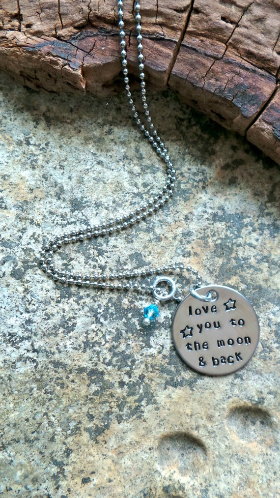 Love You To the Moon and Back Tiny Hand Stamped Stainless Steel Necklace