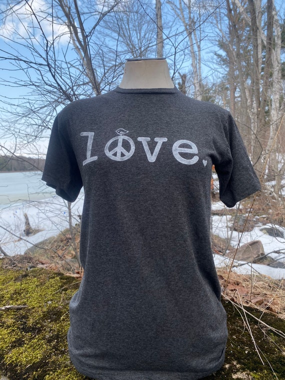 LOVE tshirt, peace and love t-shirt, stamped frosting shirt, peace sign shirt, tee, tee shirt, t-shirt, Charcoal grey t-shirt