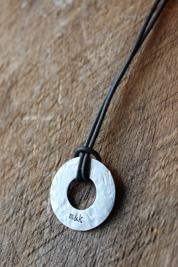Dads Circle of Love - Personalized Mens Hand Stamped Necklace, stainless steel