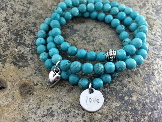 Love hand stamped gemstone stack