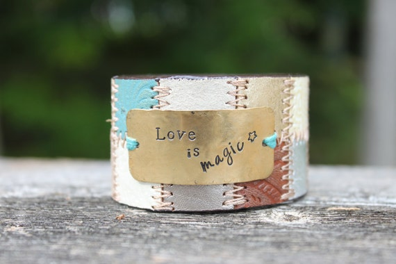 Love is Magic Hand Stamped Up-cycled Leather Belt Cuff