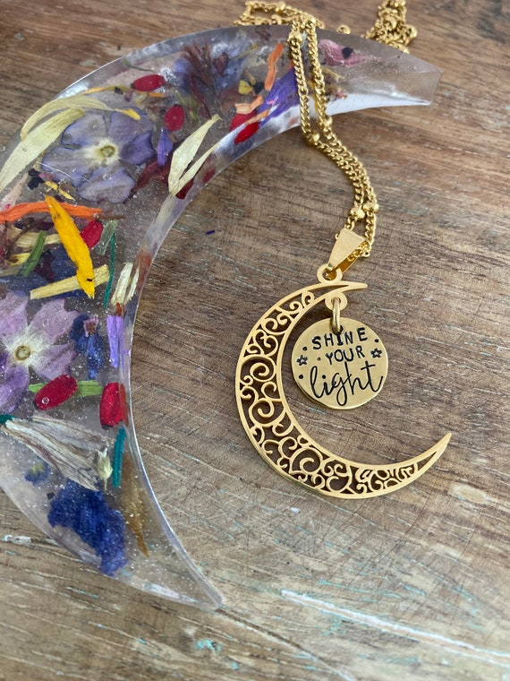Hand Stamped Moon Necklace / Moon Child Necklace / Moon Necklace / stay wild / crescent moon necklace / shine your light /