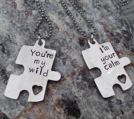 We fit together puzzle piece hand stamped necklace - stainless steel hand stamped puzzle piece necklace