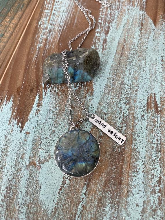 Hand Stamped Carved Labradorite Necklace, carved flower labradorite necklace, gemstone necklace, Flashy labradorite
