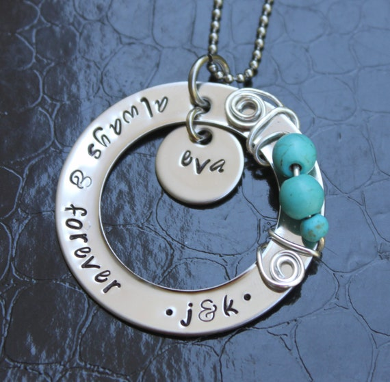 Swirled Love Wire Wrapped Hand Stamped Family Necklace