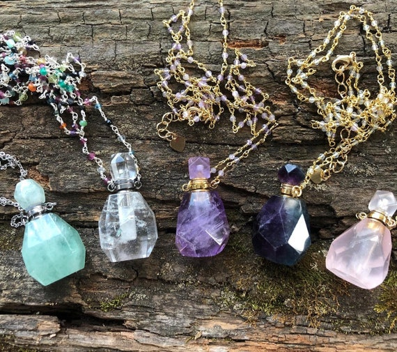 Beautiful Gemstone Essential Oil Bottle Necklaces