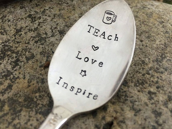 Hand Stamped Teacher Vintage Tea Spoon