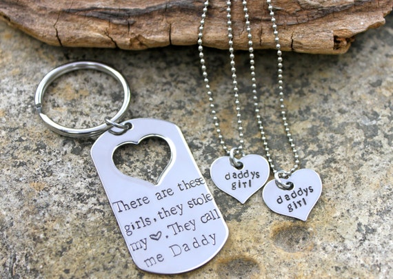Daddy's little girl gift set - Personalized Mens Hand Stamped keychain and daughter necklace set