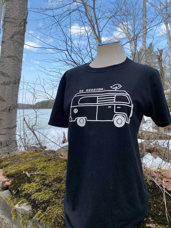 Be Awesome tshirt, Hippie bus t-shirt, stamped frosting shirt, be awesome, tee, tee shirt, t-shirt, black t-shirt