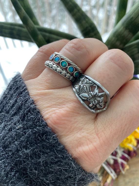 Vintage spoon ring, spoon ring, flower ring, silverware jewelry