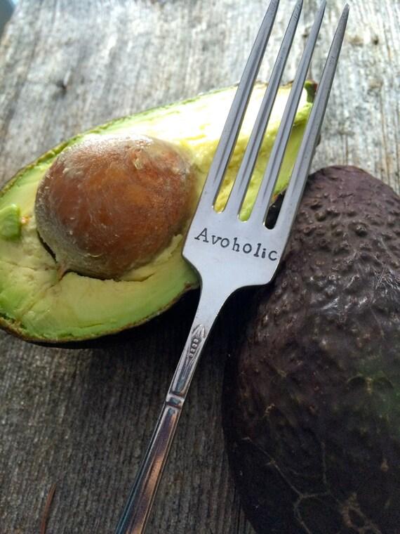 "Hand Stamped ""avoholic""  Avocado Lover Vintage fork"