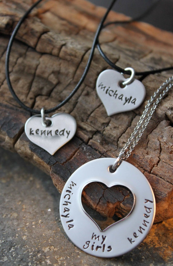 Mothers Day Special Necklace set,  Mother Daughter Hand Stamped Sweet Heart necklace set