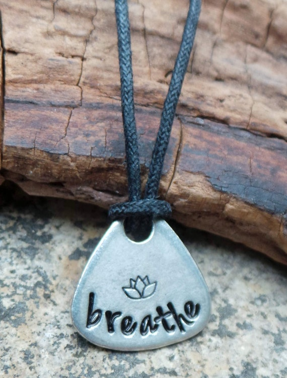 Hand Stamped Pewter Breathe necklace, yoga jewelry, pewter necklace