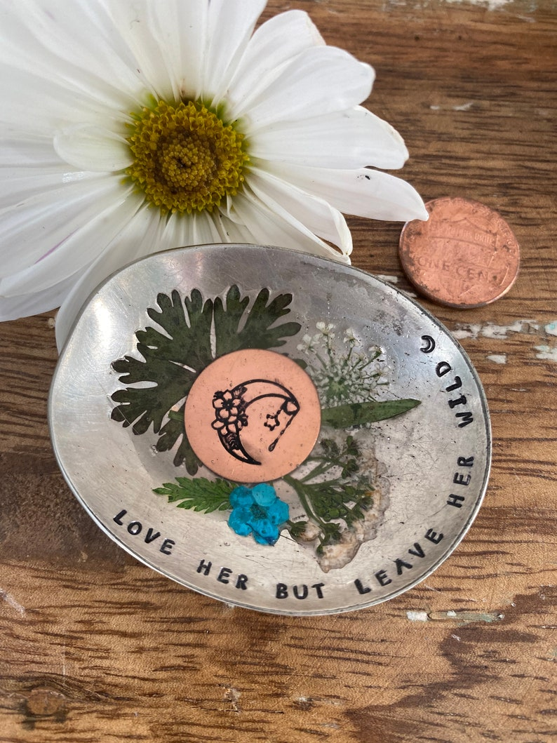 resin flower dish Hand Stamped Resin Flower Trinket Dish ring dish Love her but leave her wild trinket dish