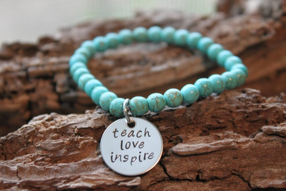 Teacher Hand Stamped Gemstone Bracelet - great teacher gift, hand stamped gemstone bracelet
