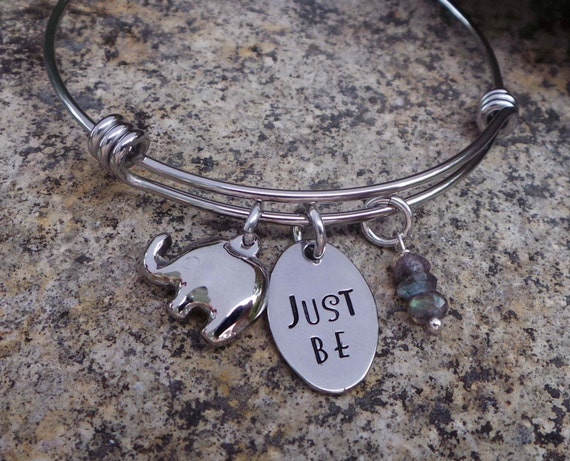 Good Fortune Elephant and Gemstone Hand Stamped Stainless Steel Bangle