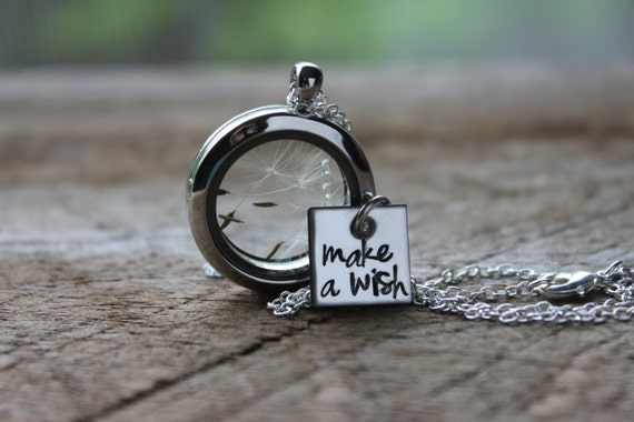 Make A Wish Hand Stamped Glass Locket with Real Dandelion Seeds