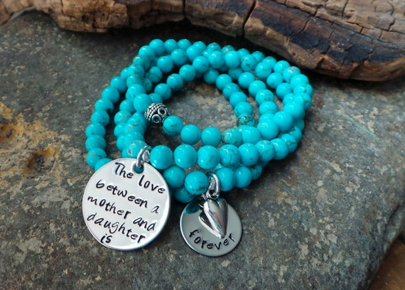 Hand Stamped Mother Daughter Gemstone bracelet set - personalized turquoise gemstone stacking bracelets